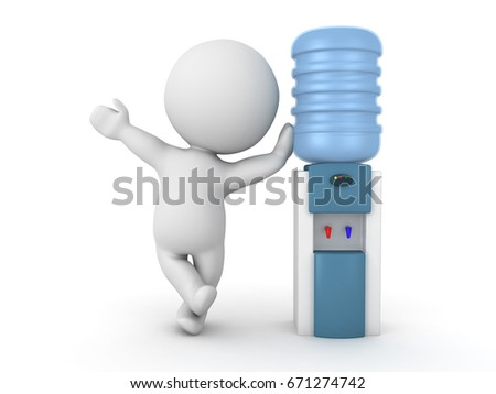 3D Character waving and leaning on officer water cooler. Isolated on white.