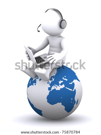 3d character with laptop sitting on the globe. Rendered on white background - stock photo