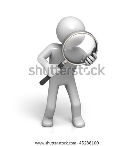 3D Character with Magnifying Glass (isolated on White Background) - stock photo