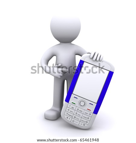 3d character with mobile phone, Isolated - stock photo