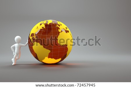 3d character with orange globe