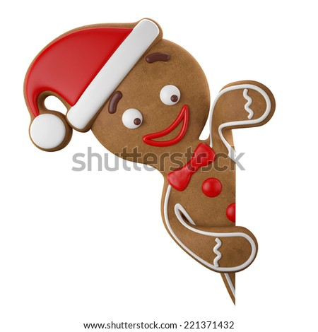 3d character with red santa hat, cheerful gingerbread, Christmas funny decoration, baked sweet candy, winter baby boy with frosting, funny fresh addition isolated on white background - stock photo
