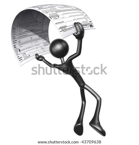3D Character With Tax Form - stock photo