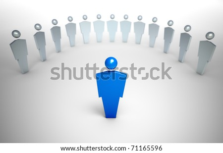 3D characters - cooperation concept illustration - stock photo