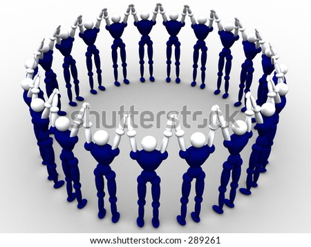 3d characters gathered around holding hands. - stock photo