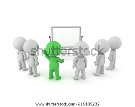 3D Characters sitting in front of a whiteboard at a meeting of training. One the 3D character is colored green and is asking a question.