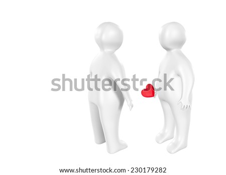 3D characters with heart as love concept - stock photo