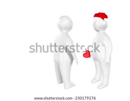 3D characters with Santa Claus hat and heart as love concept - stock photo