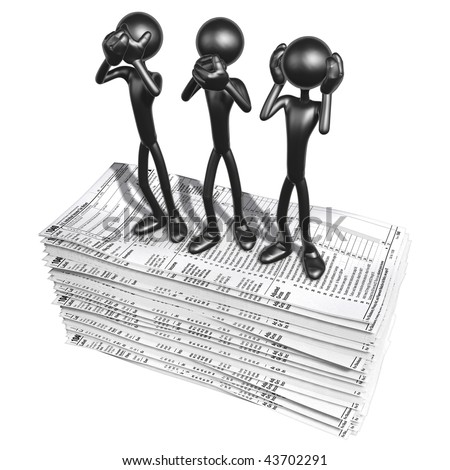 3D Characters With Tax Forms - stock photo