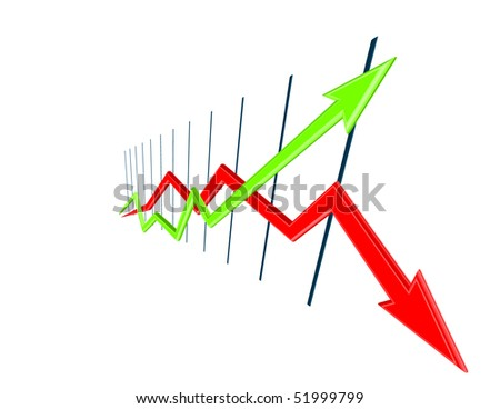 3d Chart curves width perspective - stock photo