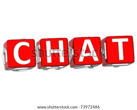 3D Chat Cube text on white background - stock photo