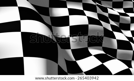 3D. Checkered Flag, Sports Race, Motorized Sport.