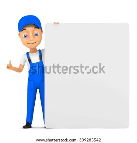 3d cheerful worker with billboard