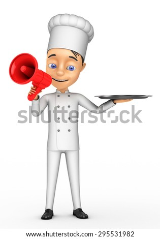 3D Chef with a megaphone on a white background - stock photo