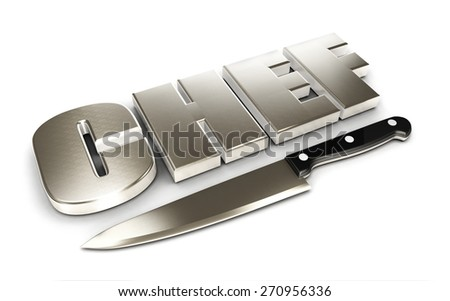 3d chef word and kitchen knife, isolated white background, 3d image - stock photo