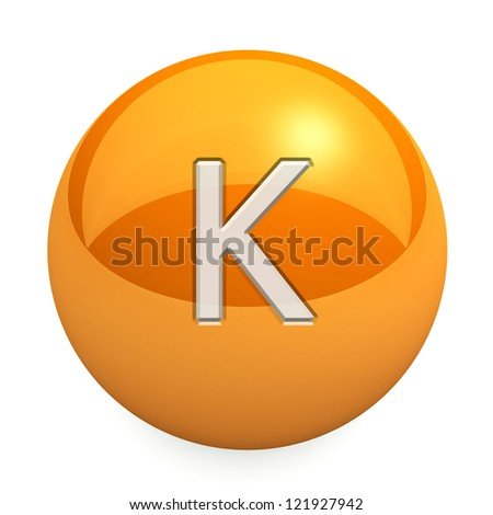 3D chemical element K. Button, icon. On a white background - stock photo