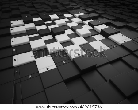 3d chess board. The concept design of futuristic checkerboard. An empty board for chess in modern style.