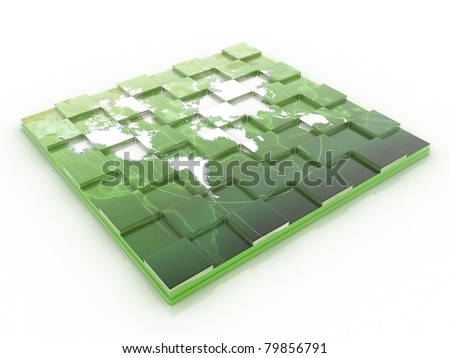 3D Chess board with world map - stock photo