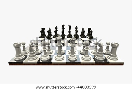 3D chess game flowing freely, isolated with a clipping path