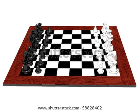 3D chess game isolated on a white background - stock photo