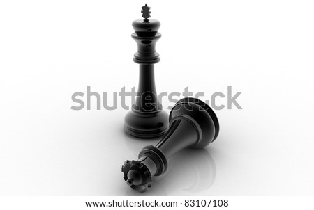 3D chess king and queen on a white background - stock photo