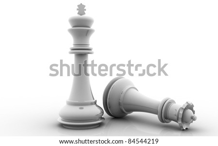 3D chess king and queen on a white background