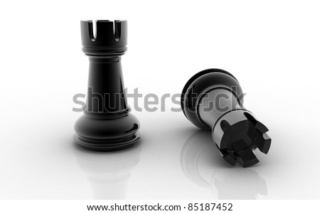 3D chess rook isolated on a white background - stock photo