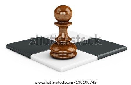 3d chess squares with pawn on white background - stock photo