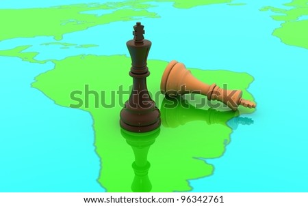 3D chess two king concept on a world map - stock photo