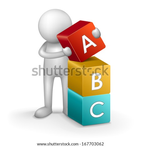3d child and word ABC isolated on white background - stock photo