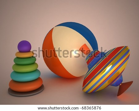 3d child's toys pyramid, top, ball