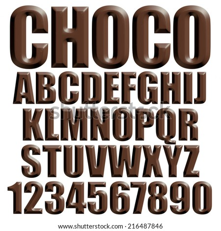3d chocolate alphabets on isolated white background. - stock photo