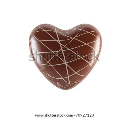 3D chocolate heart - stock photo