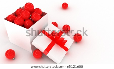 3d christmas balls in a white gift box, over white - stock photo