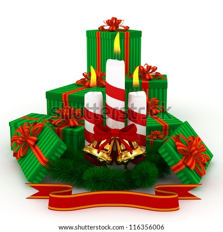 3D Christmas Burning candles with golden bells, green gifts and sprigs of christmas tree isolated on white - stock photo