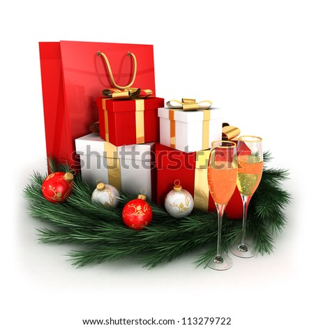 3d christmas gifts with baubles, wreath and two champagne flutes, isolated white background, 3d image