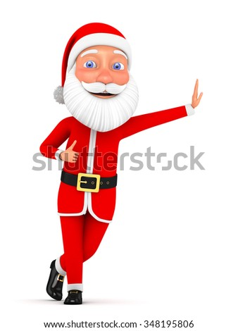 3d Christmas illustration. Cheerful Santa Claus with a raised finger up on a white background.
