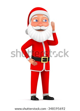 3d Christmas illustration. The character of Santa Claus listens to the approach of Christmas