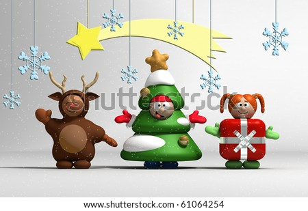 3D Christmas kids costumed on white stage