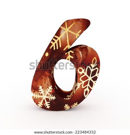 "3d ""6"" Christmas Number with Ornament - isolated"