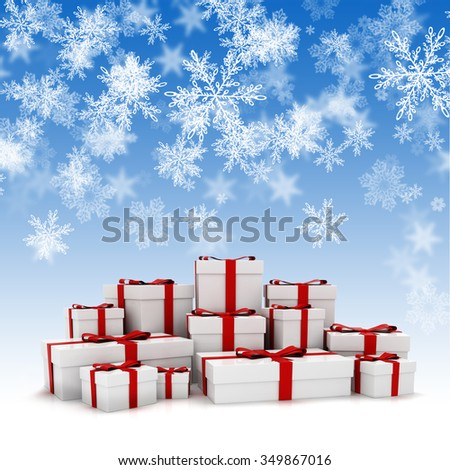 3d Christmas present boxes and snowflakes  background - stock photo