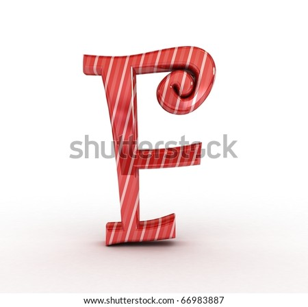 3D Christmas sugar letter isolated - stock photo