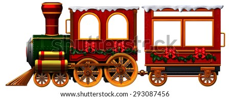 3D Christmas Train locomotive and coach - stock photo