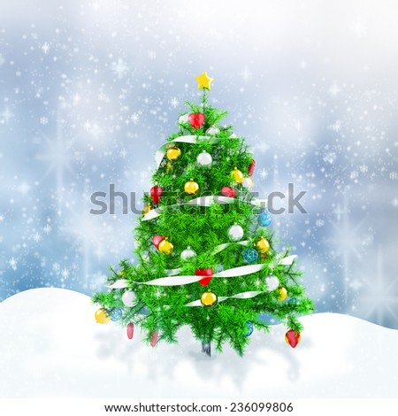 3d Christmas tree with snowflakes on winter background - stock photo