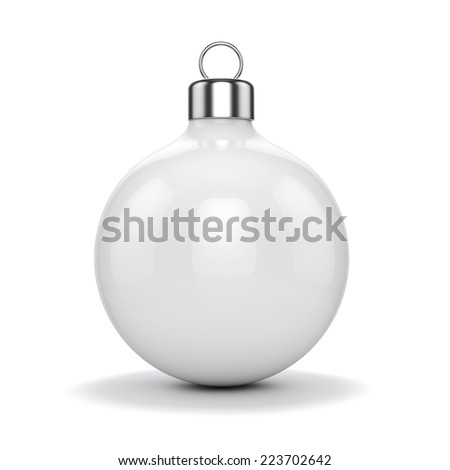 3d Chritmas ball ornaments on white background - stock photo