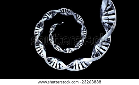 3d chrome DNA spiral strand silhouetted on a black background - stock photo
