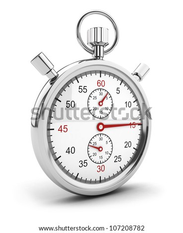 3d chrome stopwatch icon, isolated white background, 3d image - stock photo