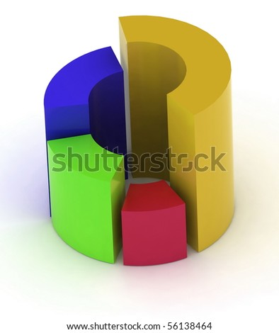 3D circular diagram on white background - stock photo