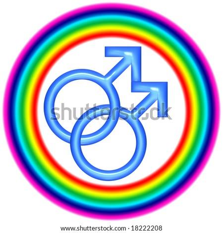 3d circular gay love icon over white - stock photo