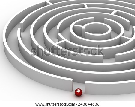 3D Circular maze on the white background - stock photo